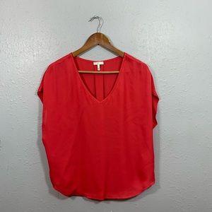 Joie Orange V Neck Short Sleeve Blouse Size Small